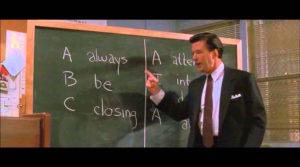 """Imagen perteneciente a la película """"Glenngarry Glen Ross"""", en la que el actor Alex Baldwin interpreta a un alto ejecutivo que imparte al equipo comercial una charla sobre motivación. Hay que mantener en el despacho siempre una actitud comercial, y para ello nada mejor que implantar una herramienta tecnológica CRM para reforzar la cultura empresarial del despacho"""
