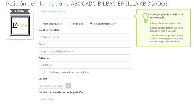 Modelo de petición de información al despacho por parte del usuario