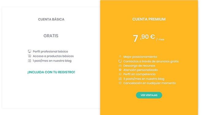 Condiciones de la cuenta Básica y de la cuenta Premium en Abogadea