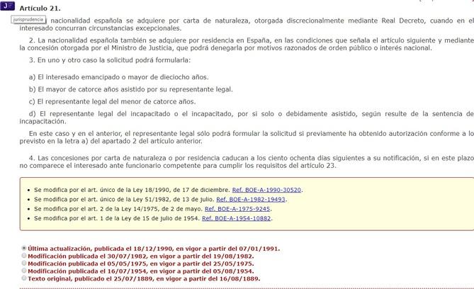 Cómo aparece el artículo 21 del Código Civil consolidado del BOE y sus diferentes enlaces.