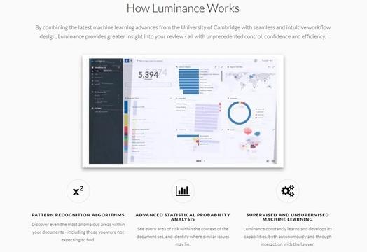 Cómo funciona Luminance: identifica patrones y realiza predicciones a través de machine learning supervisado y no supervisado  (Imagen capturada desde www.luminance.com)