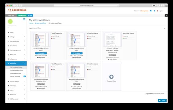 En el administrador de Docxpresso: my active workflows