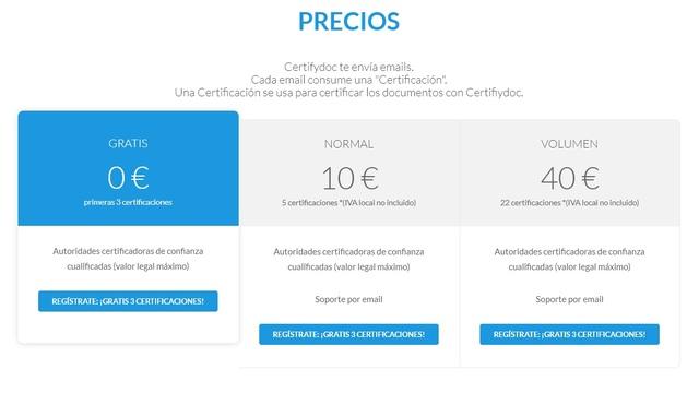 Precios de Certifydoc