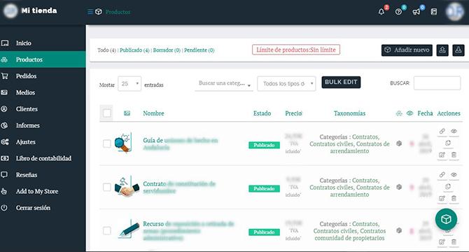 Panel de control del despacho en Legalyzee: cómo gestionar tus productos