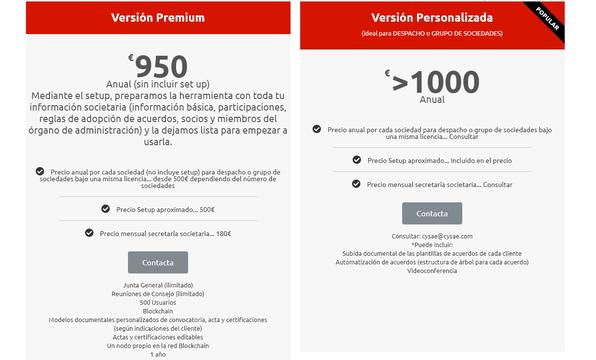 Precios Boardchain_Versión Premium y Versión Personalizada