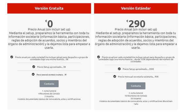 Precios Boardchain_Versión gratuita y Versión Estándar