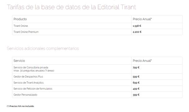 Tarifas de Tirant online
