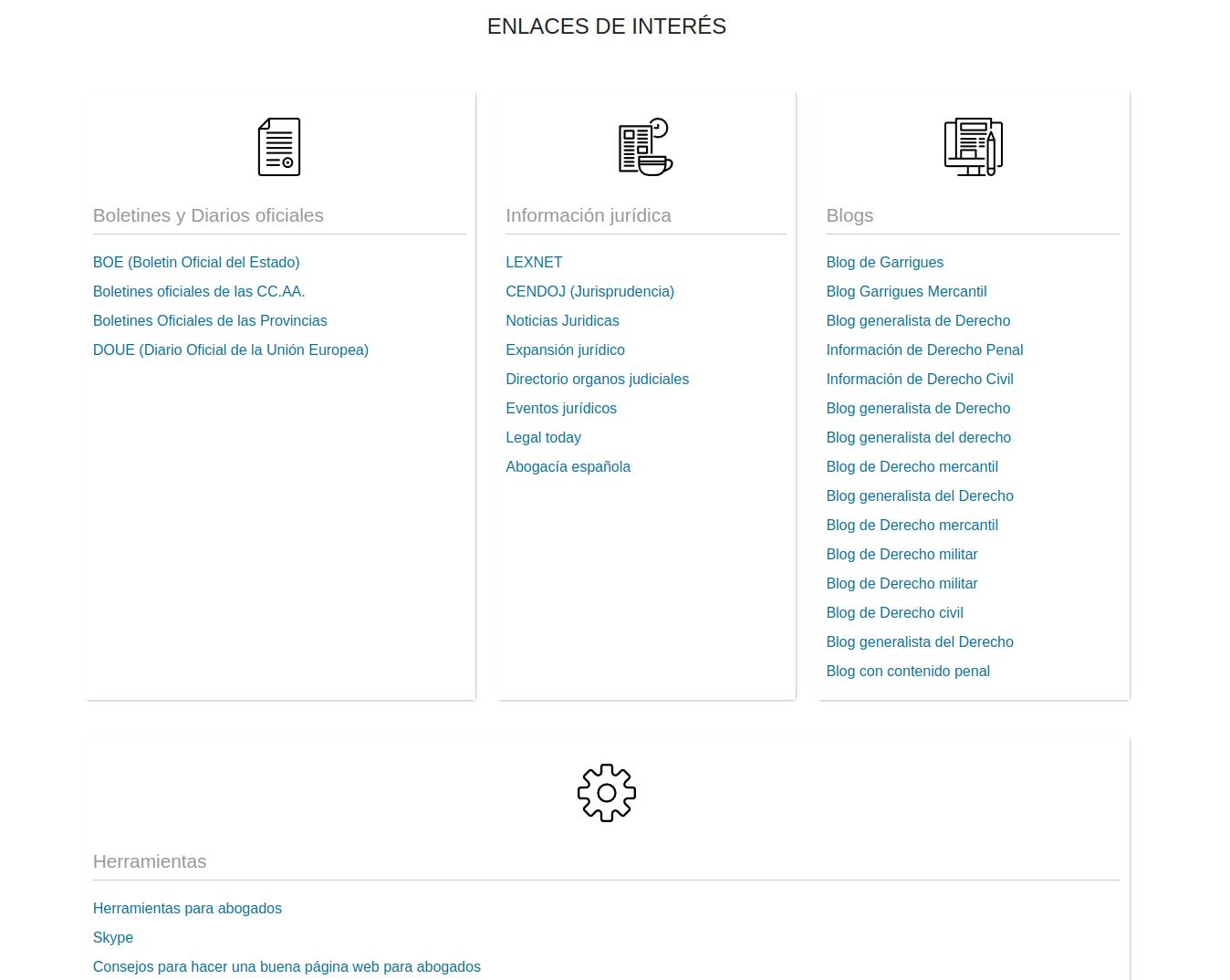 Acceso para los abogados a los enlaces de interés de Abogadium: Diarios Oficiales, información jurídica y blogs.