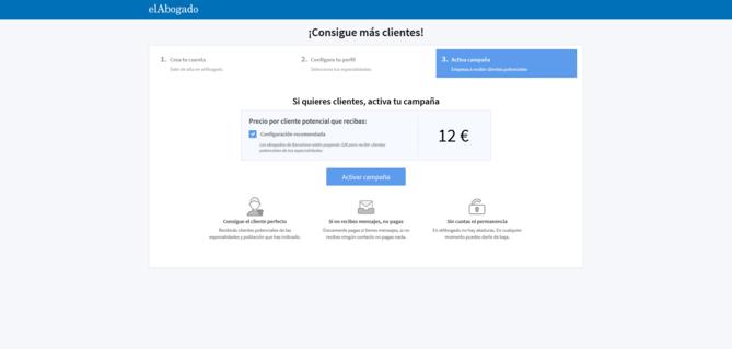 Configuración recomendada para activar campaña con precio de lead