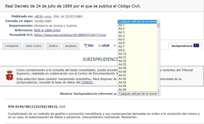 Enlace a jurisprudencia del CENDOJ en el Código Civil consolidado del BOE.