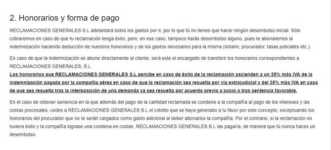 Punto 2 de las Condiciones Generales de Reclamaciondevuelos.com