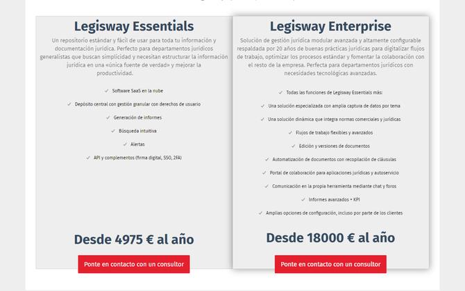 Modalidades, funcionalidades y precios de Legisway