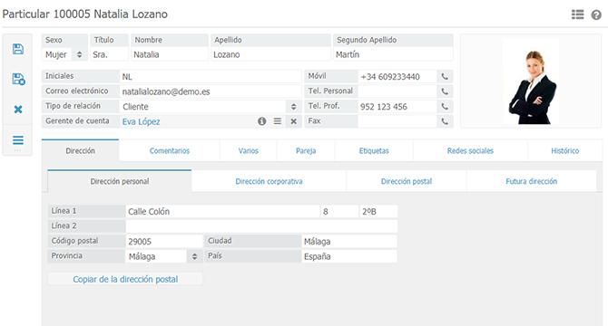 Interfaz de BaseNet con ficha de cliente