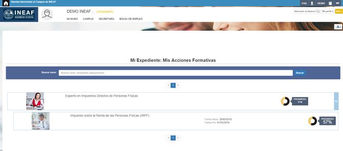Aspecto del campus virtual de INEAF (1)