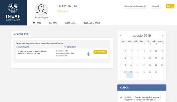 Aspecto del campus virtual de INEAF (2)