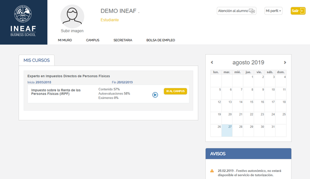 Aspecto del campus virtual de INEAF (2)