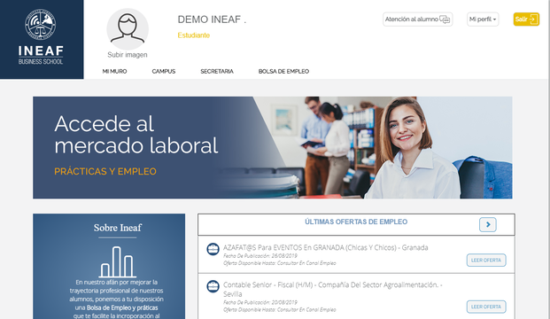 Aspecto del campus virtual de INEAF (3)