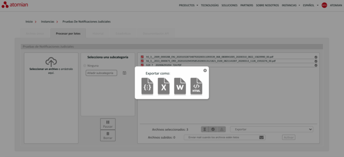 Los diferentes formatos, en los cuales se puede exportar el resultado de los conceptos clave extraídos